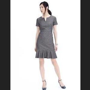 Banana Republic gray cap sleeve ruffle mini dress